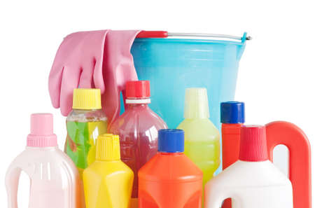 Colored plastic detergent bottles with bucket and gloves isolated on white background Stock Photo - 7116067