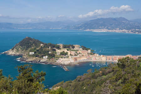 isthmus: aerial view of Sestri Levante with its characteristic peninsula.