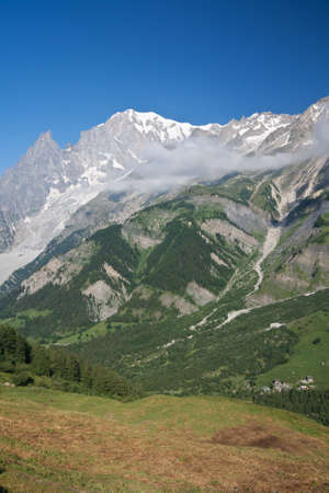 summer view of Ferret Valley and mont Blanc, Courmayeur, Italy photo
