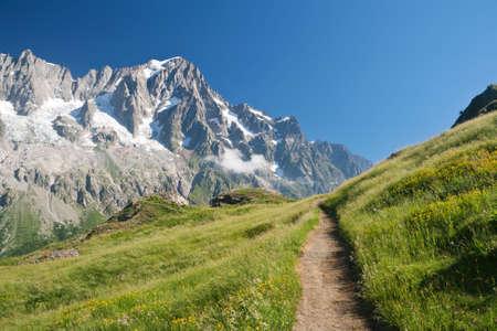kleine pad in Italiaanse Alpen op de zomer. Op de achtergrond Les Grandes Jorasses berg (mont Blancmassief) Stockfoto
