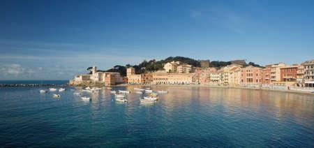 liguria: Panoramic view of Baia del Silenzio in Sestri Levante, famous small town in Mediterranean sea, Liguria, Italy Stock Photo