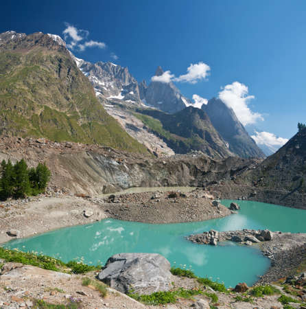 little morainic lake in Italian alps near Courmayeur, Italy photo