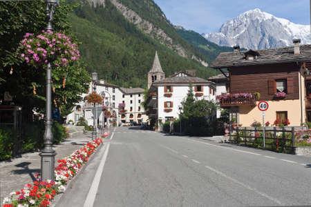 courmayeur: summer view of Pre Saint Didier, small town near Courmayeur, Aosta Valley, Italy