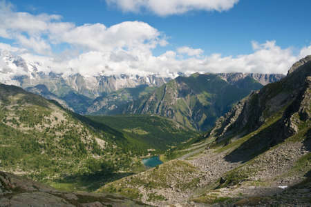 summer landscape of Italian Alps in Aosta Valley  photo