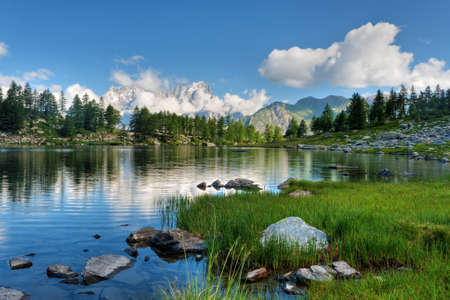 aosta: Arpy lake, La Thuile, Aosta valley, Italy.  Stock Photo