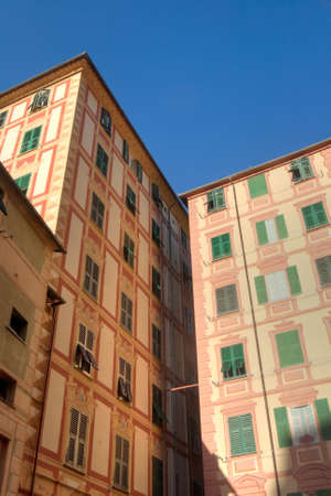frescoed: characteristic frescoed homes in Camogli,Italy Stock Photo