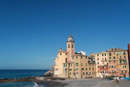 beach and church in Camogli, Italy Stock Photo - 8662424