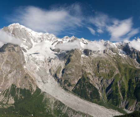 Mont Blanc massif on summer, Courmayeur, Italy photo