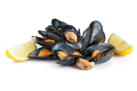 group of mussels with lemon isolated on white