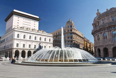 De Ferrari square with fountain in Genova, Italy photo