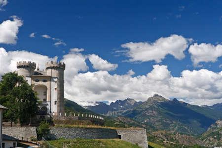 medioeval:  Aymavilles, Aosta Valley with the medioeval castle