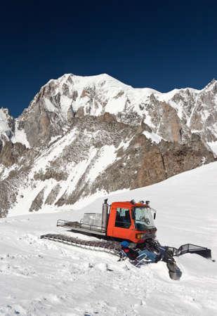 snowcat: summer view of Mont Blan massif  Stock Photo