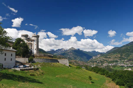 medioeval: Aosta Valley in Aymavilles with the medioeval castle Stock Photo