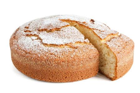 homemade: sliced yogurt cake isolated on white background
