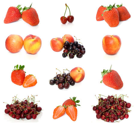 collection of peaches, strawberries and cherries isolated on white photo