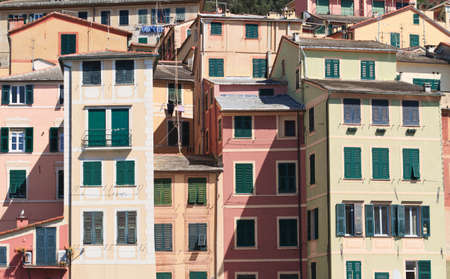 riviera: typical painted homes in Camogli, Italy Stock Photo