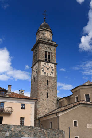steeples: ancient church in Cogne, Aosta Valley, Italy Stock Photo