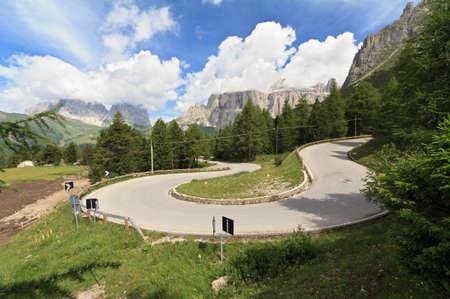 hairpin: winding road to Pordoi pass, Italian Dolomites