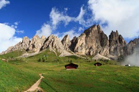 summer landscape of Cir group from Gardena pass, Italian Dolomites