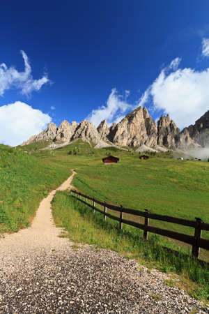 summer landscape of Cir group from Gardena pass, Italy Stock Photo