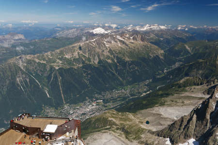 aiguille: aerial view of Chamonix from Aiguille du Midi, France