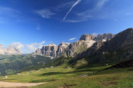 fassa: summer view of Italian Dolomites in Fassa Valley Stock Photo