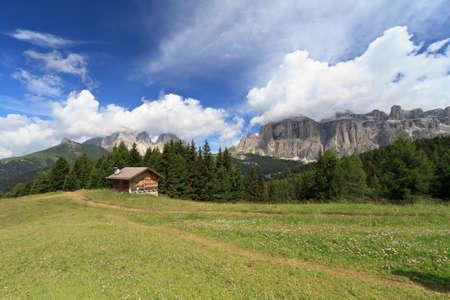 fassa: summer landscape in Fassa valley, Italian Dolomites Stock Photo