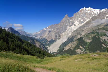 Mont Blanc massif from Ferret valley, Courmayeur, Italy photo