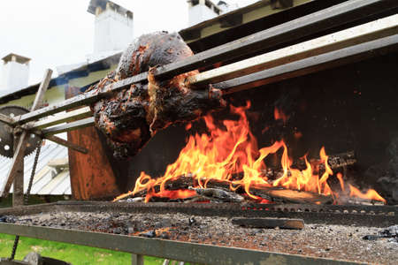 whole pork grilled on a spit outdoor photo