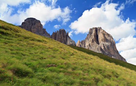 grass slope beneath Sassolungo mount, Italian Dolomites Stock Photo - 10685614