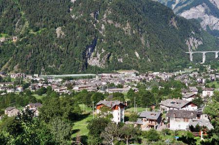 aosta: summer view of Morgex, Aosta Valley, Italy Stock Photo