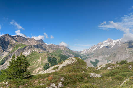 view of Veny valley in Courmayeur, Aosta Valley, Italy photo