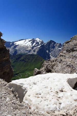 Mount Marmolada from Saas Pordoi, Italian Dolomites photo