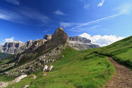 Dolomites with Sella Group and Saas Pordoi mountain Stock Photo