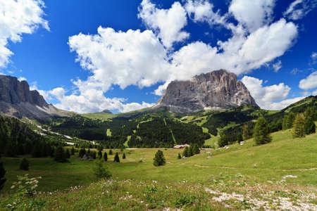 dolomites: high Gardena valley with Sassolungo mount, Italian Dolomites
