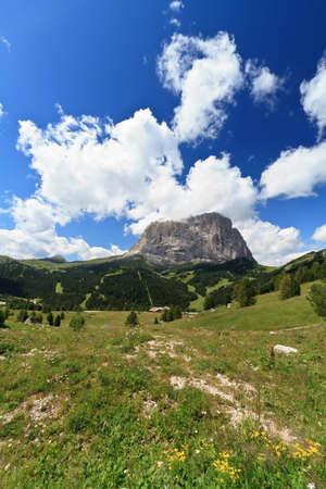 gardena: Sassolungo mount from Gardena pass, Italian Dolomites Stock Photo