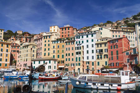 typical small port with fishing boats in Camogli, Italy