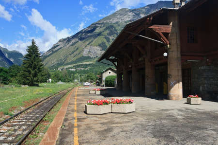 railroad station platform: railway station in Morgex, small town in Italian Alps
