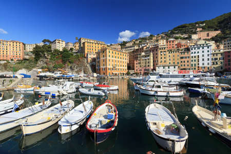 mediterranean houses: small harbor in Camogli, famous little town in Liguria, Italy Stock Photo