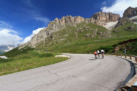 road from Canazei to Pordoi pass, Trentino, Italy photo