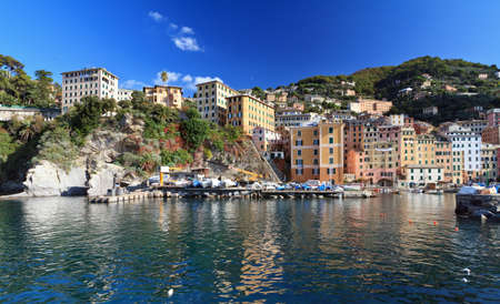 view of Camogli, famous ancient village in Liguria, Italy photo
