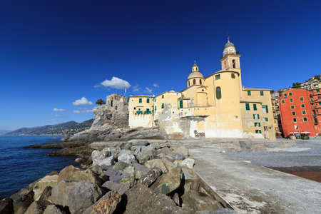 ancient basilica in Camogli, famous small town in Italy photo