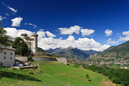 aosta: summer view of Aosta Valley in Aymavilles with the medioeval castle Stock Photo