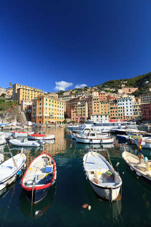 harbor in Camogli, famous small town in Liguria, Italy photo