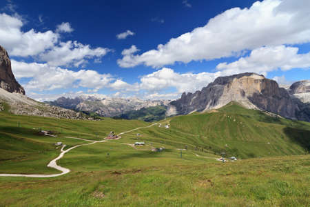 gardena: Sella pass between Fassa and Gardena valley, Italy Stock Photo