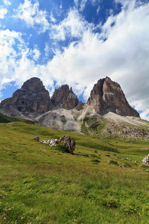 Sassolungo mount on summer, Italian Dolomites photo