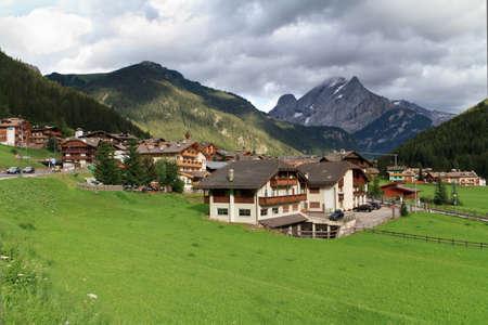 fassa: Fassa valley and Canazei village, Trentino, Italy