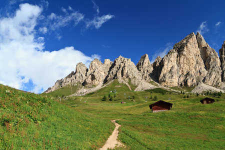 summer view of Cir group from Gardena pass, Italian Dolomites Stock Photo