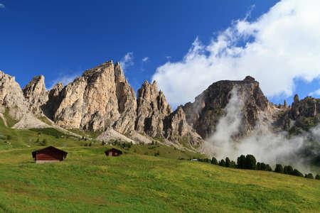 summer landscape of Cir group Dolomites, high Badia valley Stock Photo