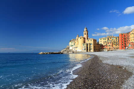 church and seafront of Camogli, Liguria, Italy photo
